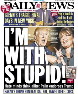 The New York Daily News pulled no punches with its front page on Wednesday