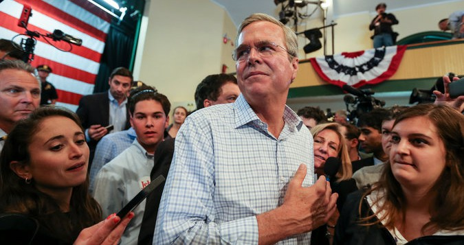Jeb Bush in New Hampshire (Image Credit: Cheryl Senter/New York Times)