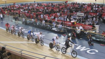 Britain leads the way in the Keirin during the 2015 championships. Photo by James Moseley.