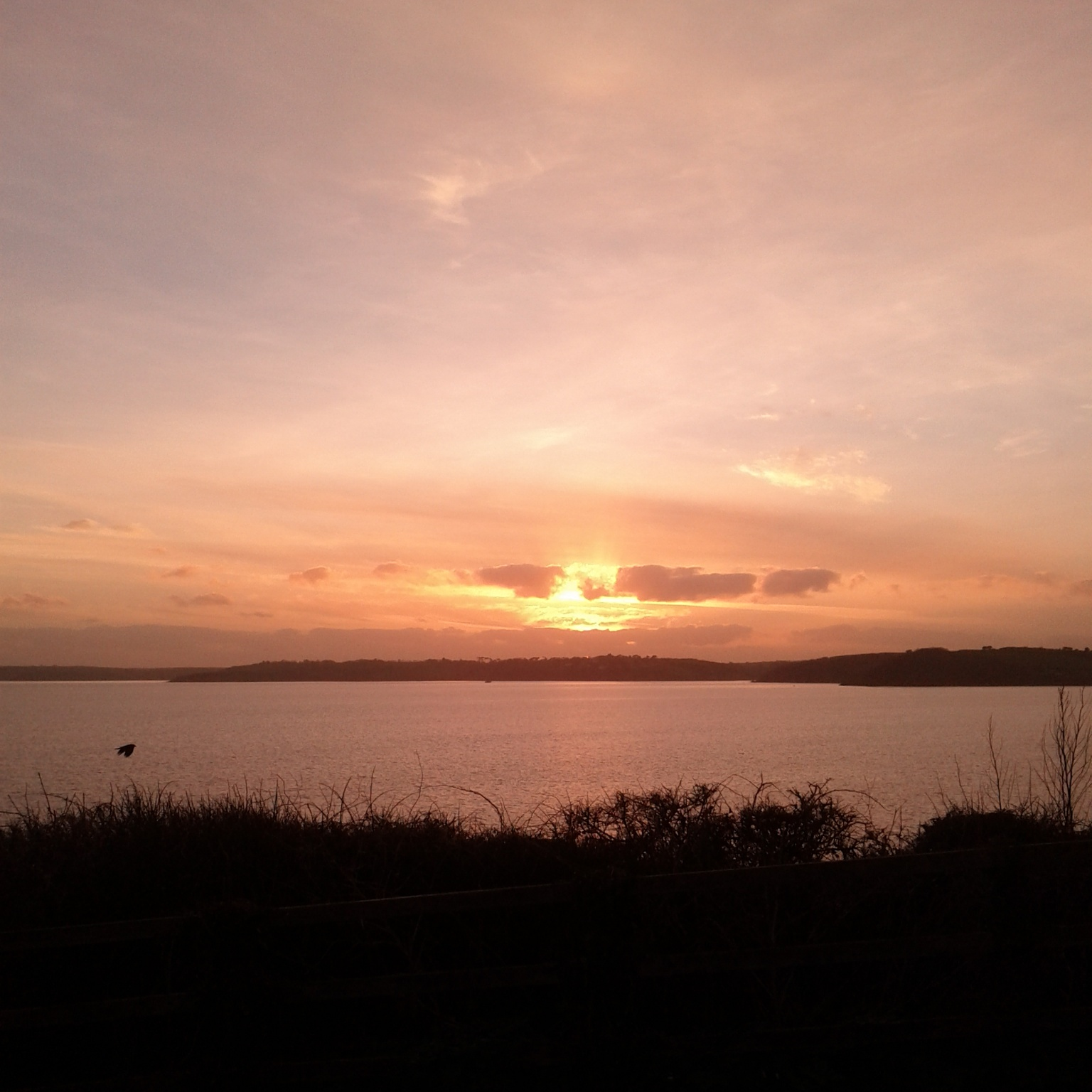 Sunset over Falmouth bay. Falmouth is home to one of the best art and design schools in the UK and many small galleries.