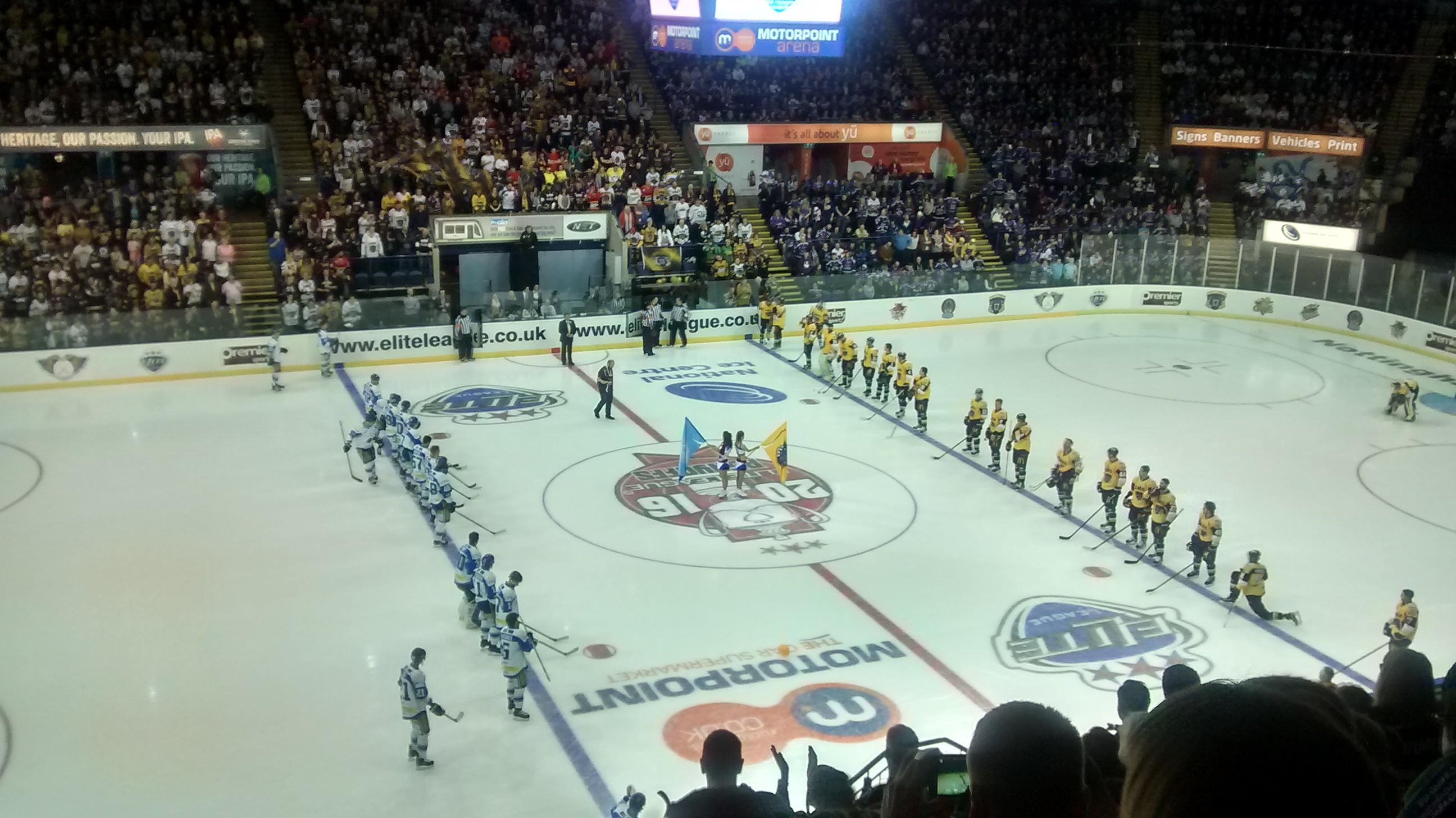 The Panthers and Blaze lineup for the National Anthem before the final.
