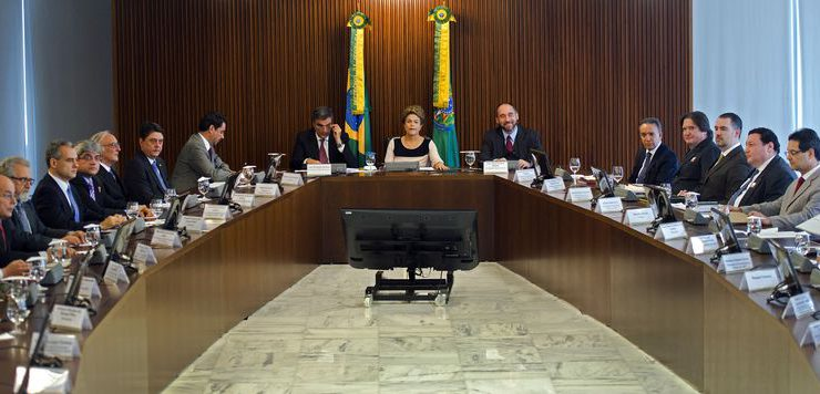 President Rousseff with jurists in Brasilia. (Wikimedia Commons)