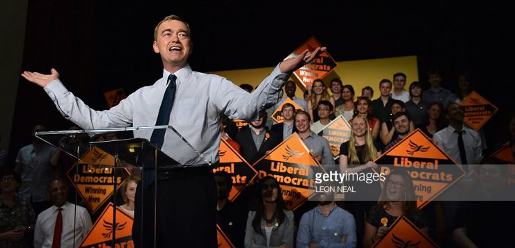 Tim Farron at his Leadership Announcement. Source: Getty Images.