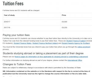 Durham tuition fees for 2017