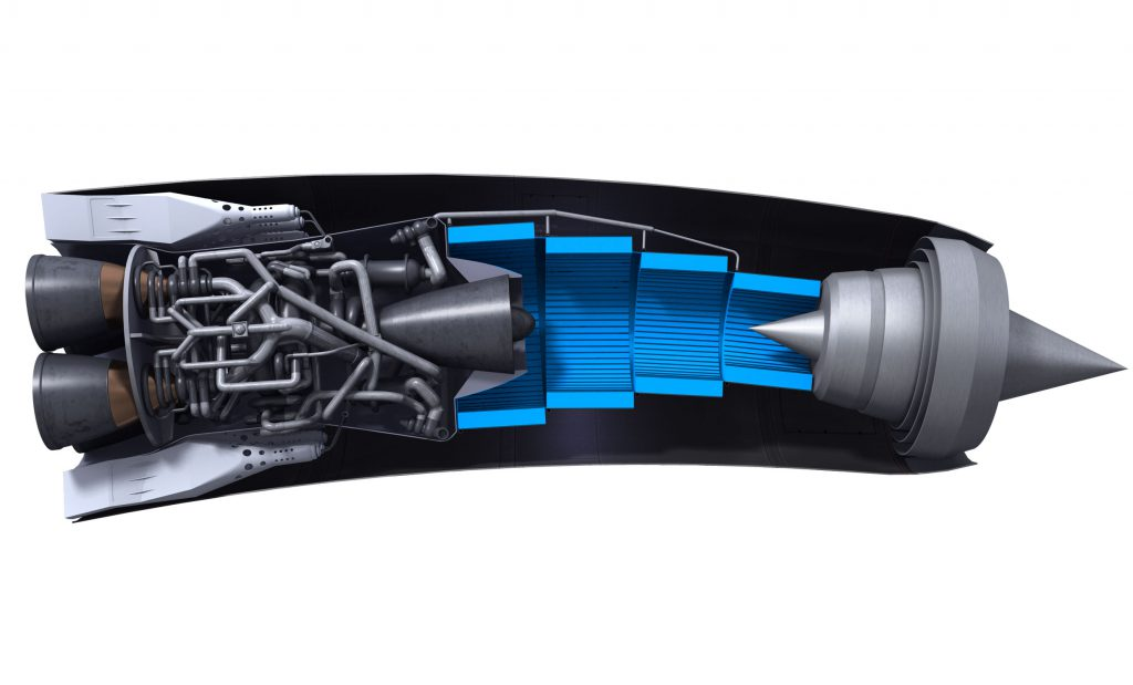 The SABRE Engine, with the pre-cooler shown in blue. Credit: Reaction Engines Ltd.