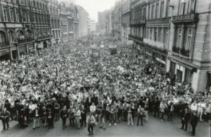 A Militant rally in support of Liverpool City Council, 1985.