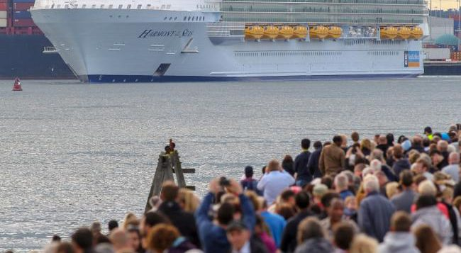 The Harmony of Seas, the world's largest cruise liner, docked in Southampton