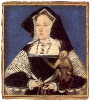 Catherine of Aragon with her Pet Monkey. image: raucousroyals.