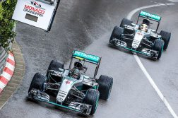 Hamilton passes Rosberg in Monaco, Credit: Andrew Locking
