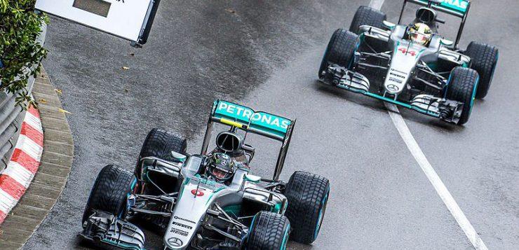 Hamilton passes Rosberg in Monaco, Credit: Andrew Locking