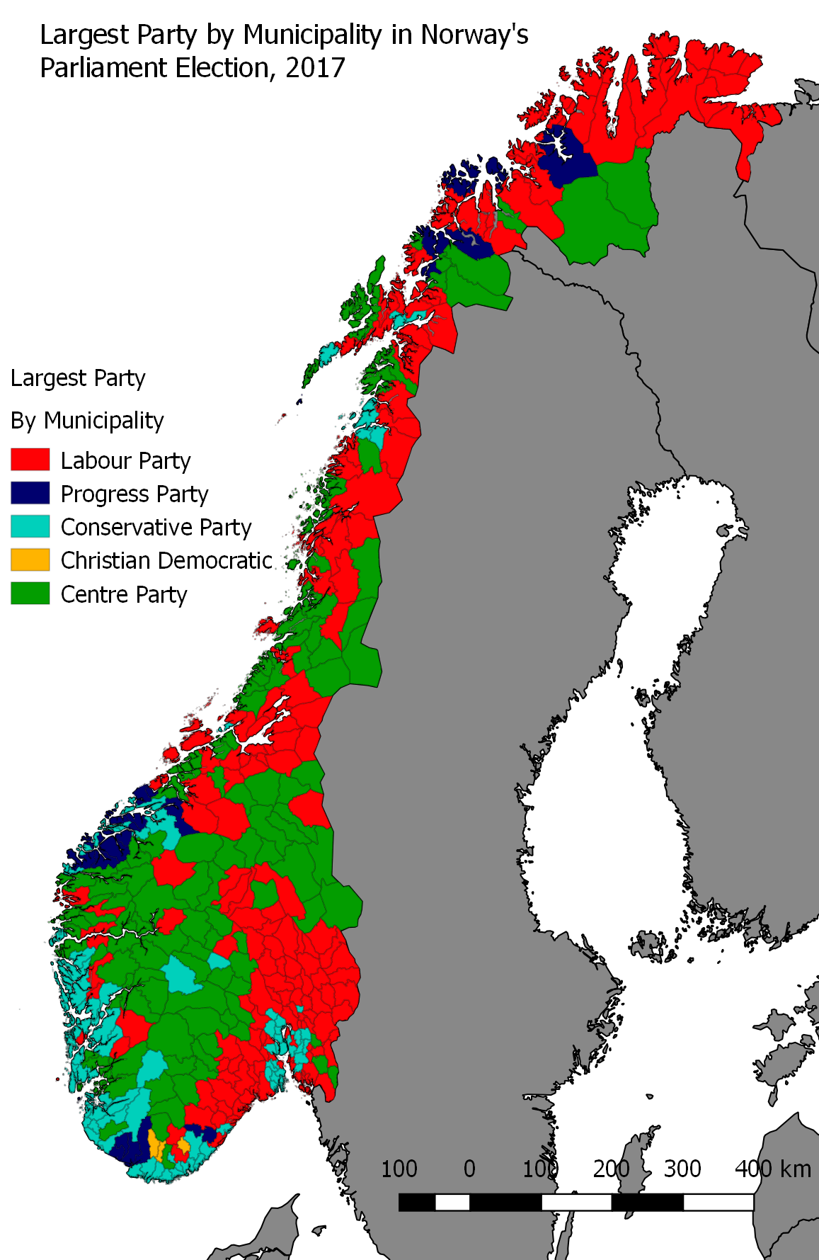 Norways Parliamentary Election A Narrow Victory For The Right - Norway election map