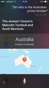 Who is the Australian Prime Minister? Siri