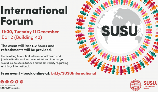 SUSU International Forum To Take Place on 11th December in Building 42, Bar 2, at 11am
