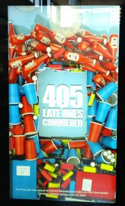 A photograph of one of the caffeine pill ads. The body of the text reads: 405 LATE ONES CONQUERED