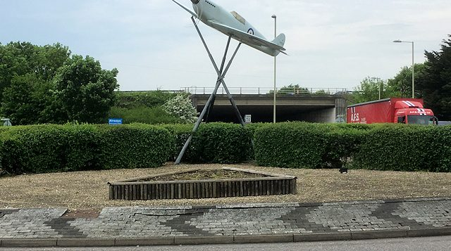 Replica Spitfire near Southampton Airport