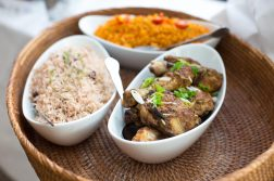 Jollof rice, Jerk Chicken and Rice and Peas
