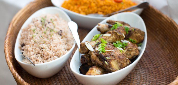 Jollof rice, Jerk Chicken and Rice and Peas