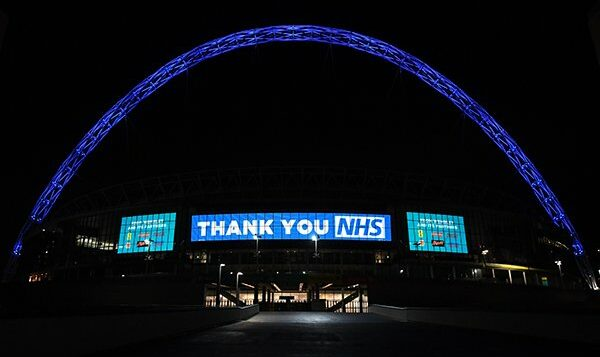 Wembly stadium is lit up blue for NHS workers