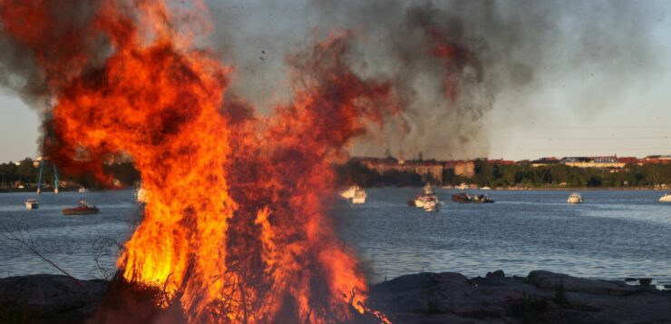 bonfire on an island in Finland